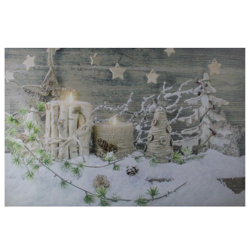 """Country Rustic Winter Christmas LED Lighted Canvas Wall Art 23.5"""" x 15.5"""" - IMAGE 1"""