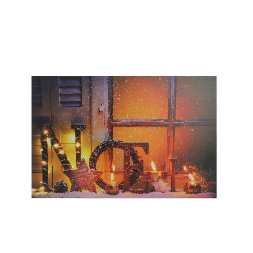 """LED Lighted Noel and Flickering Candles Christmas Canvas Wall Art 12"""" x 15.75"""" - IMAGE 1"""