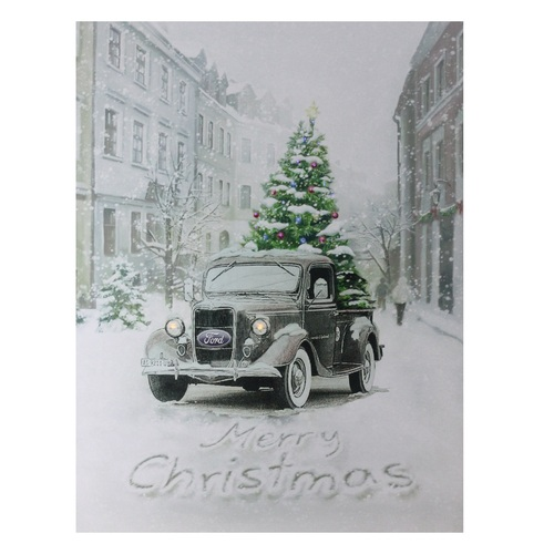 """15.75"""" LED Lighted Ford Truck Merry Christmas Canvas Wall Art - IMAGE 1"""