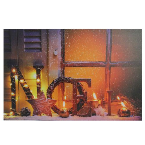 """LED Lighted Noel and Flickering Candles Christmas Canvas Wall Art 23.5"""" x 15.75"""" - IMAGE 1"""