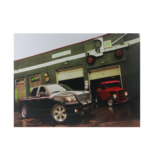 """LED Lighted Ford Trucks at O'Briens Auto Service Canvas Wall Art 15.75"""" x 12"""" - IMAGE 1"""