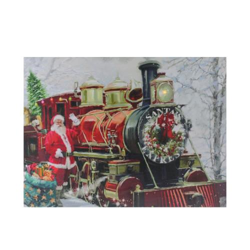 "Fiber Optic and LED Lighted Santa's Express Canvas Wall Art 12"" x 15.75"" - IMAGE 1"