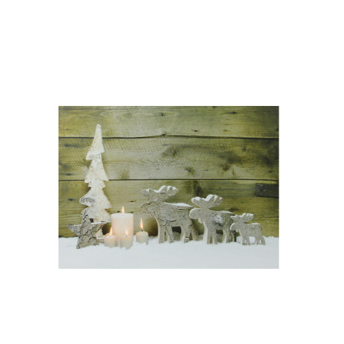 """LED Lighted Flickering Candles and Winter Wooden Moose Canvas Wall Art 12"""" x 15.75"""" - IMAGE 1"""