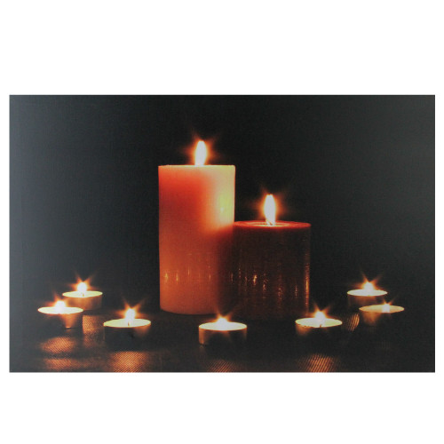 """LED Lighted Flickering Pillar and Tea Light Candles Canvas Wall Art 23.5"""" x 15.5"""" - IMAGE 1"""