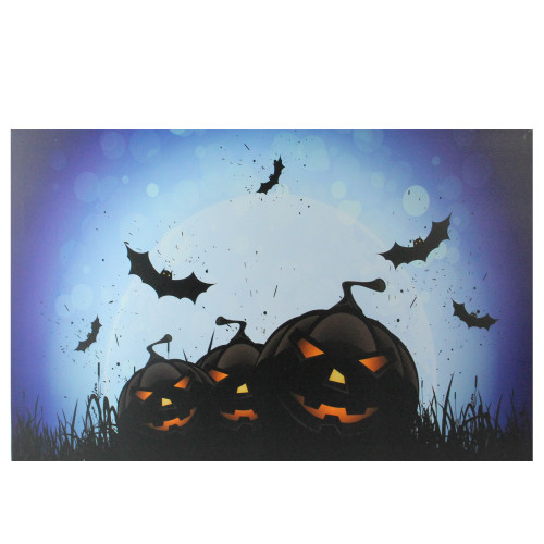 "LED Lighted Jack-O-Lanterns and Bats Halloween Canvas Wall Art 23.5"" x 15.5"" - IMAGE 1"