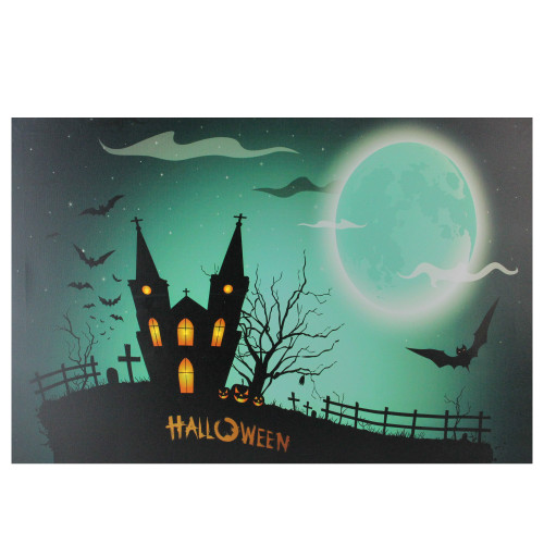 """Green and Black LED Lighted Eerie Church in Cemetery Halloween Canvas Wall Art 23.5"""" x 15.5"""" - IMAGE 1"""