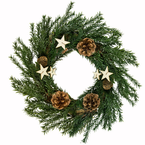 """9.8"""" Green Pine Cones and Stars Christmas Wreath - Unlit - IMAGE 1"""