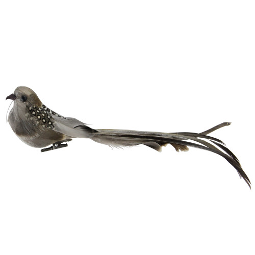 """9.5"""" Brown and Grey Clip-On Bird Feather Christmas Ornament Decoration - IMAGE 1"""