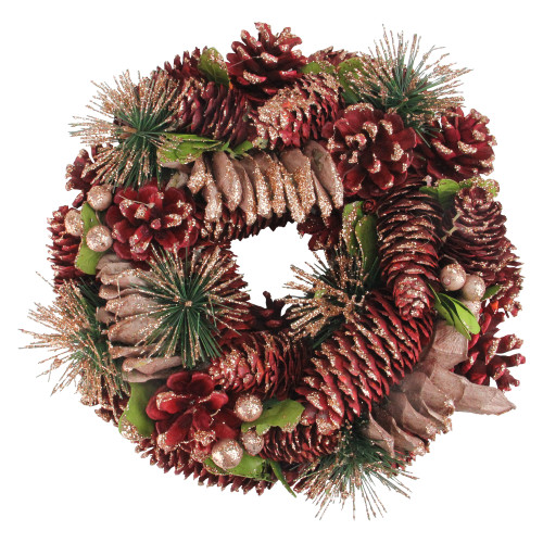 """Dusty Rose Pine Cones and Berries Artificial Christmas Wreath - 10.5"""" Unlit - IMAGE 1"""