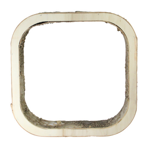 "13.5"" Ivory and Brown Rustic Wood Bark Square Tabletop Decor - IMAGE 1"
