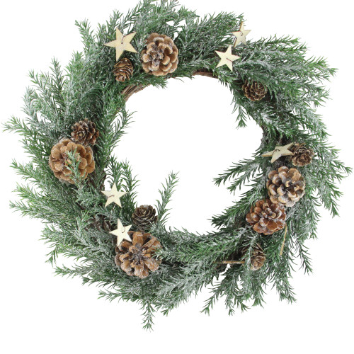 """13.7"""" Classic Pine with Pine Cones and Stars Artificial Christmas Wreath - Unlit - IMAGE 1"""