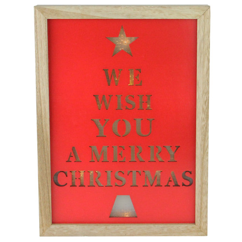 """11.75"""" Red and Brown Christmas LED Battery Operated Wall Decoration - IMAGE 1"""