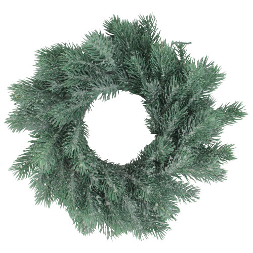 Traditional Frosted Green Pine Decorative Christmas Wreath - 12-Inch, Unlit - IMAGE 1