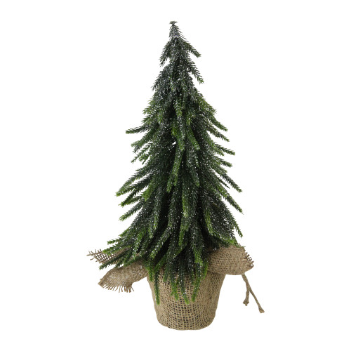"14"" Green Glitter Weeping Mini Pine Christmas Tree in Burlap Covered Vase - Unlit - IMAGE 1"