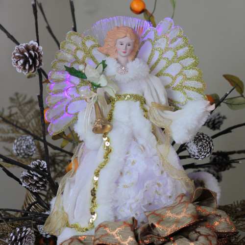 """Does Lowes Sell Christmas Trees: 16"""" Lighted Fiber Optic Angel In Silver Sequined Gown"""