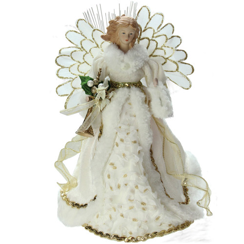 "14"" Lighted Fiber Optic Angel in Cream and Gold Gown Christmas Tree Topper - IMAGE 1"