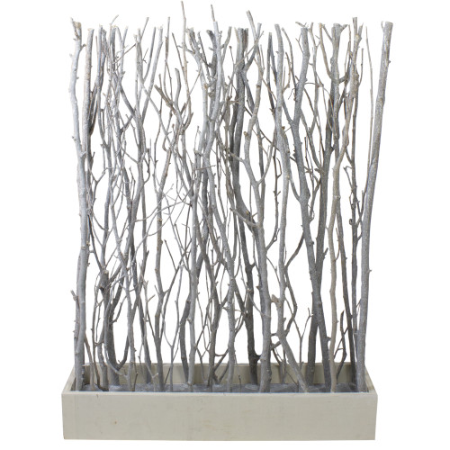 """26.75"""" White and Brown Standing Birch Branch Bouquet in Rustic Box Tabletop Decor - IMAGE 1"""
