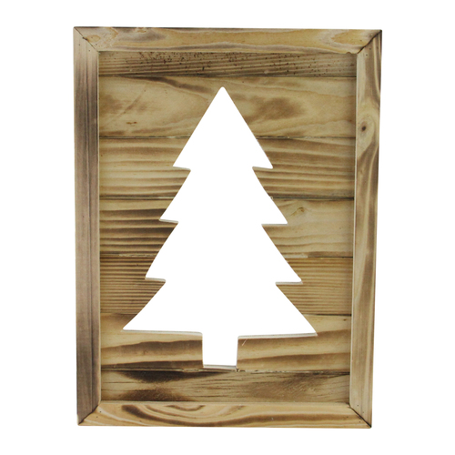 "13.75"" Framed Wood Christmas Tree-Out Wall Hanging Decoration - IMAGE 1"