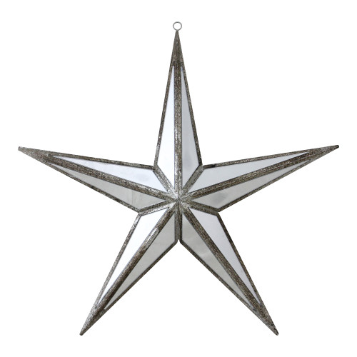 """11"""" White and Silver Mirrored 5-Point Star Christmas Ornament - IMAGE 1"""