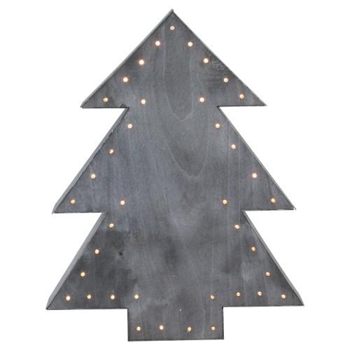 """19.75"""" Gray Pre-Lit Christmas Tree Tabletop Decor - IMAGE 1"""