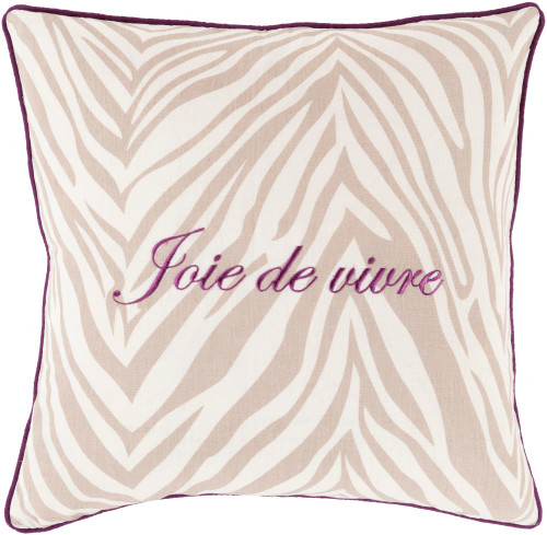 "18"" Aubergine Purple and Snow White Joie de Vivre Decorative Square Throw Pillow - Poly Filled - IMAGE 1"