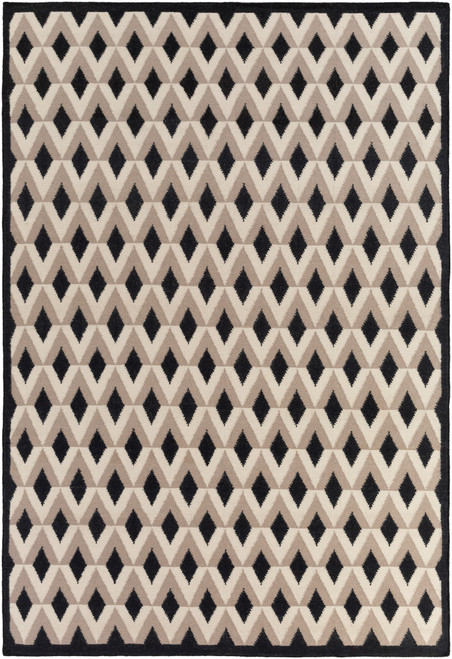 8' x 11' Geometric Black and Brown Hand Woven Round Wool Area Throw Rug - IMAGE 1