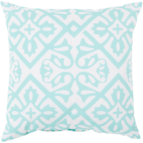 """26"""" Mint Blue and White Contemporary Square Outdoor Throw Pillow Cover - IMAGE 1"""