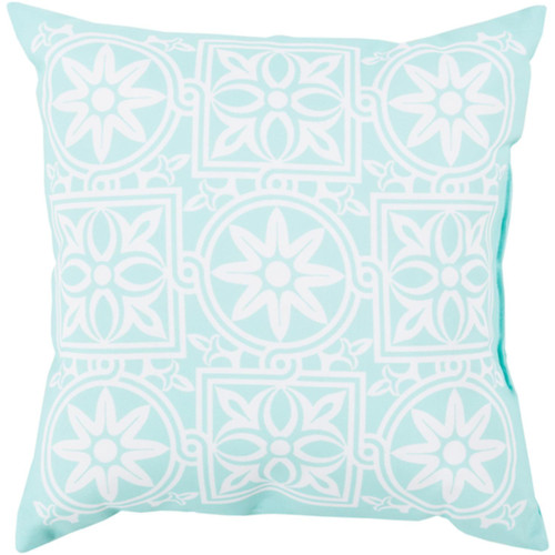 """26"""" Turquoise Blue and White Contemporary Square Throw Pillow Cover - IMAGE 1"""