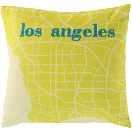 """22"""" Lemon and Lime Green Show Stopping """"LOS ANGELES"""" Decorative Throw Pillow Shell - IMAGE 1"""