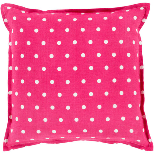"""20"""" Pink and White Polka Dots Square Contemporary Throw Pillow Cover - IMAGE 1"""