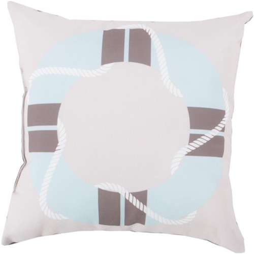 """26"""" Ivory and Blue Digitally Printed Square Throw Pillow Shell - IMAGE 1"""