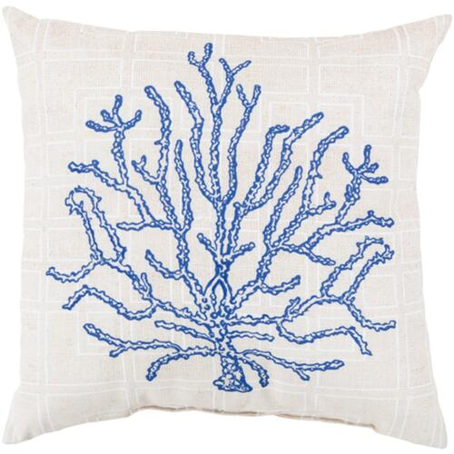 """26"""" Royal Blue and  White Coral Square Throw Pillow Cover - IMAGE 1"""