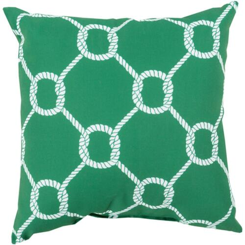 """26"""" Leaf Green and White Roped Contemporary Square Throw Pillow Cover - IMAGE 1"""