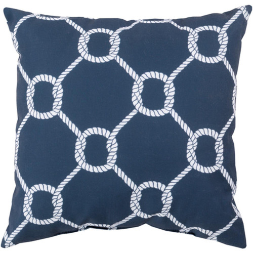 "26"" Navy Blue and White Roped Contemporary Square Throw Pillow Shell - IMAGE 1"