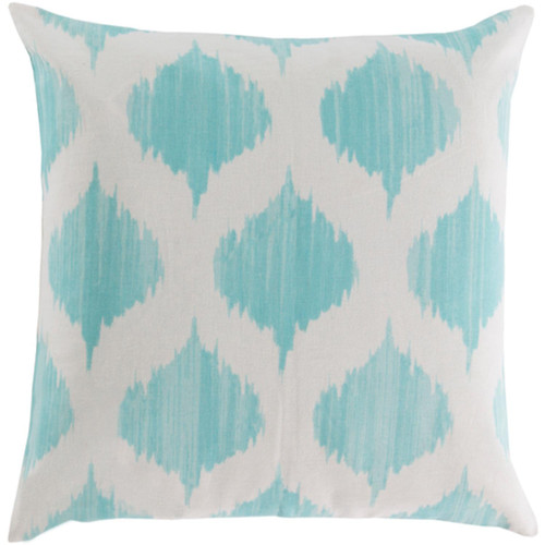 """22"""" Blue and White Contemporary Geometric Square Throw Pillow Cover - IMAGE 1"""
