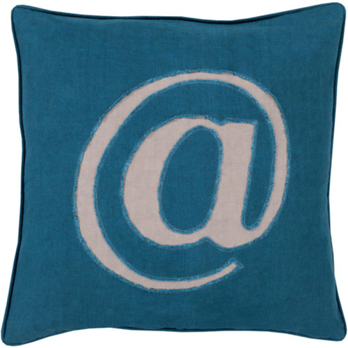 """20"""" Teal Blue and Mist Gray Contemporary Square Throw Pillow - IMAGE 1"""