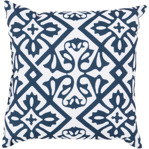 """26"""" Cobalt Blue and White Contemporary Square Outdoor Throw Pillow Cover - IMAGE 1"""