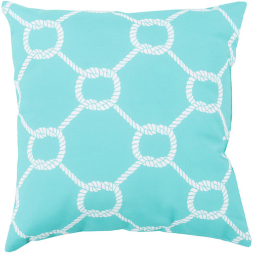 """26"""" Blue and White Contemporary Square Throw Pillow Shell - IMAGE 1"""
