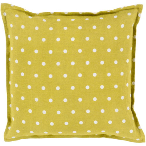 "18"" Green and White Polka Dots Square Contemporary Throw Pillow Cover - IMAGE 1"