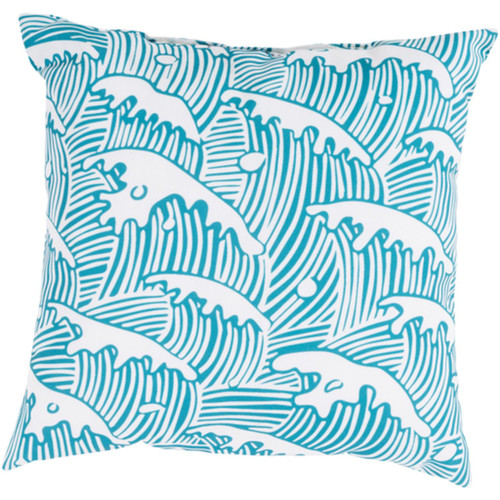 """26"""" Sky Blue and White Ocean Waves Digitally Printed Square Throw Pillow Shell - IMAGE 1"""