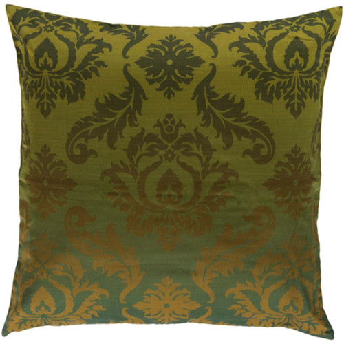 "18"" Green Contemporary Square Throw Pillow Cover - IMAGE 1"
