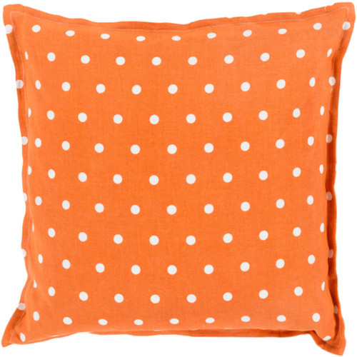 """18"""" Orange and White Polka Dots Square Contemporary Throw Pillow Cover - IMAGE 1"""