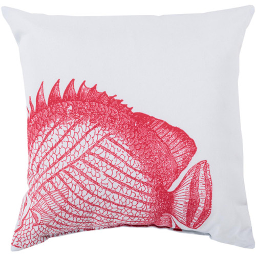 """26"""" Red and White Carnation Fish Digitally Printed Square Throw Pillow Shell - IMAGE 1"""