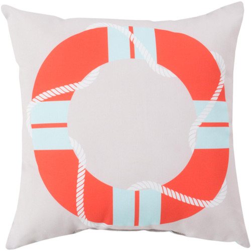 "26"" White and Orange Digitally Printed Square Throw Pillow Shell - IMAGE 1"