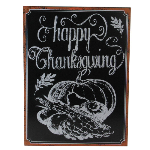"""14"""" Holiday Inspired Framed """"Happy Thanksgiving"""" Chalkboard Wall Art - IMAGE 1"""