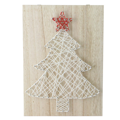 """11"""" White and Red String Christmas Tree Wall Decor - IMAGE 1"""