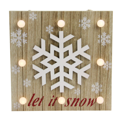 """10.25"""" Pre-Lit Red and White 'Let It Snow' Snowflake Wall Decor - IMAGE 1"""