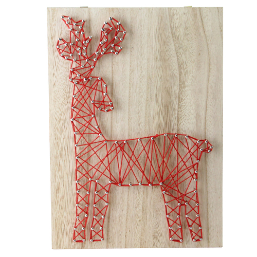 """11"""" Ruby Red """"Crazy String"""" Reindeer Wall Decoration - IMAGE 1"""