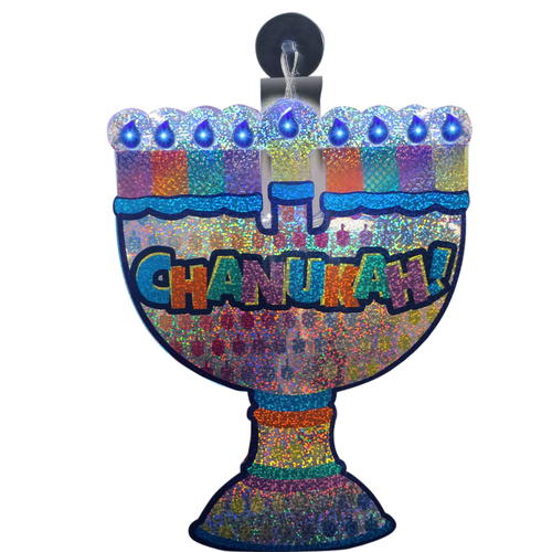 """10"""" Blue and Orange Battery Operated LED Lighted Shiny """"Hanukkah!"""" Menorah Window Decor - IMAGE 1"""