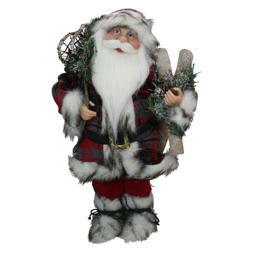 16 Alpine Chic Standing Santa Claus With Snowshoes Skis Christmas Figure Christmas Central